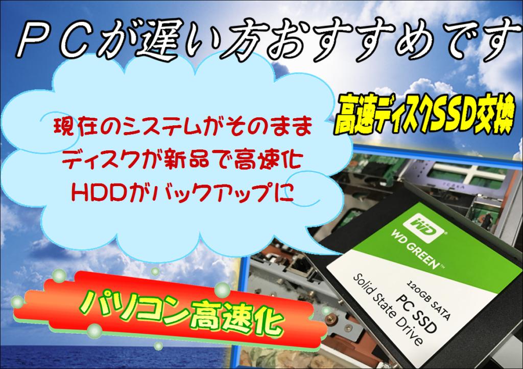 高速ディスクSSD交換(延岡市~日向市)